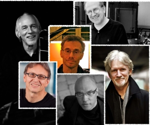 Improvisatory Minds in NYC! 9/18 at St. Peters Church at 7:30 pm. Clockwise from bottom: Billy Childs, Gernot Wolfgang,Ed Neumeister, Mike Patterson, Alan Broadbent, in center, Bevan Manson.